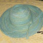 Aqua Straw Hat with Silver Threads