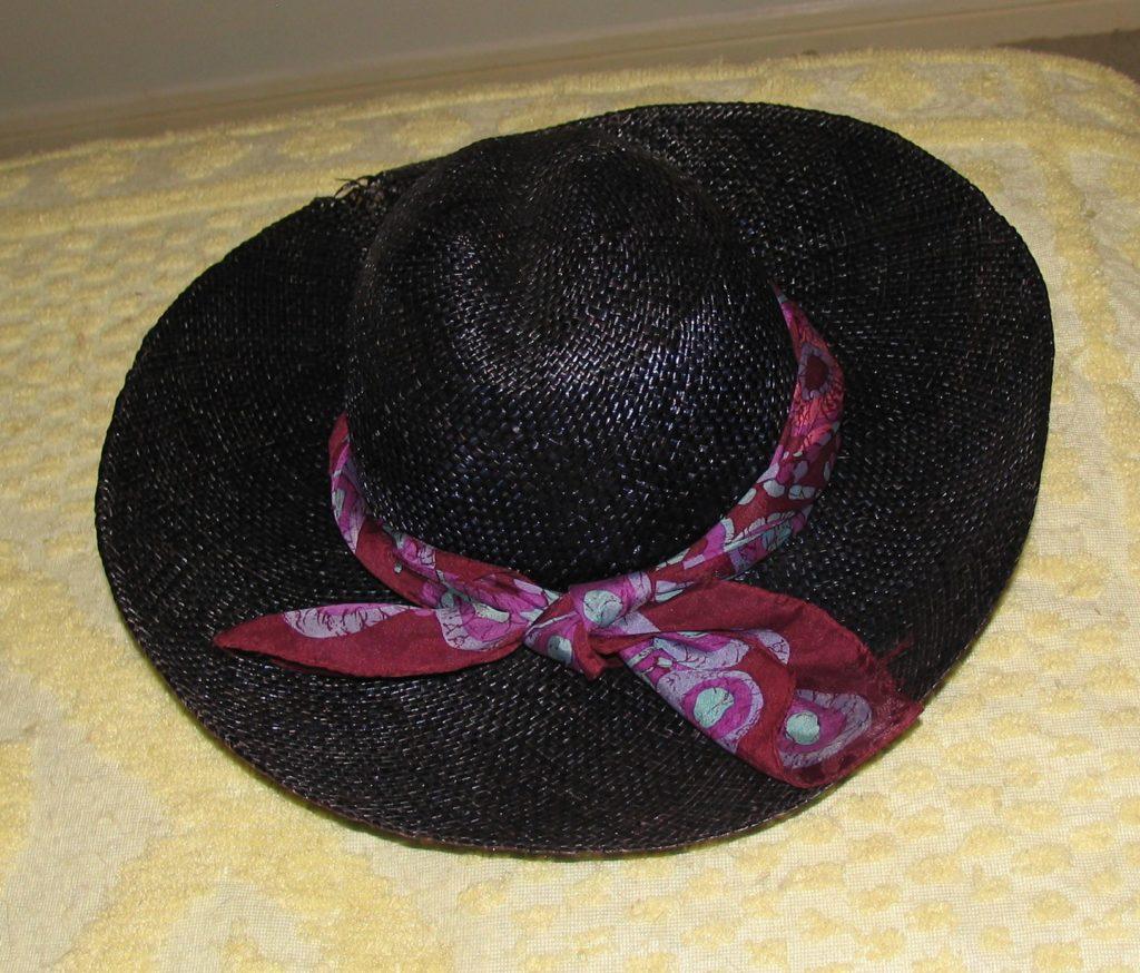 Black Vintage 1970's Straw Hat