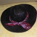 Black Vintage 1970's Straw Hat