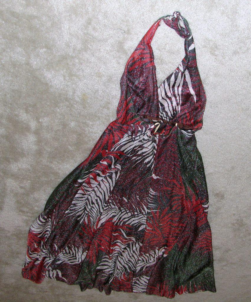 Vintage 1970's Long Metallic Backless Evening Dress