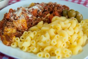Who knew when we were growing up not to eat chicken & pasta together? I didn't, did you?